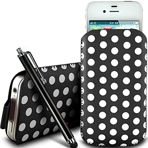 N4U Online - Apple Iphone 3GS protection en cuir PU conception Polka Pull Tab cordon glisser Housse Etui Quick Release et grandes Stylet - Noir