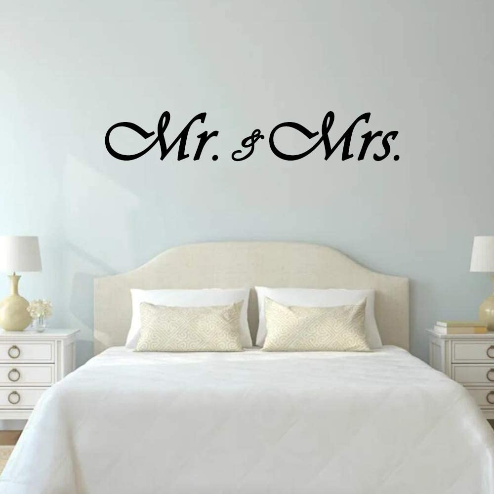 YttBuy Mr. & Mrs. Wall Decals Removeable Quote Vinyl Wall Art Decals Master Bedroom Wall Decor Wedding Gift
