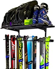 StoreYourBoard Omni Ski Wall Rack and Storage Shelf, Holds 10 Pairs, Ski Wall Mount, Home and Garage Storage H