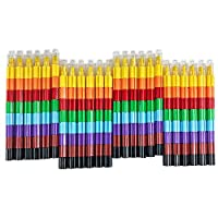 Huji Stacking Buildable 8 Colors Crayons Set, Connect Stack and Build Crayons Sideways and Up, Favorite Toys Kids Party Favors Safe Non-Toxic, Easy to Hold (Building-Blocks, 24)