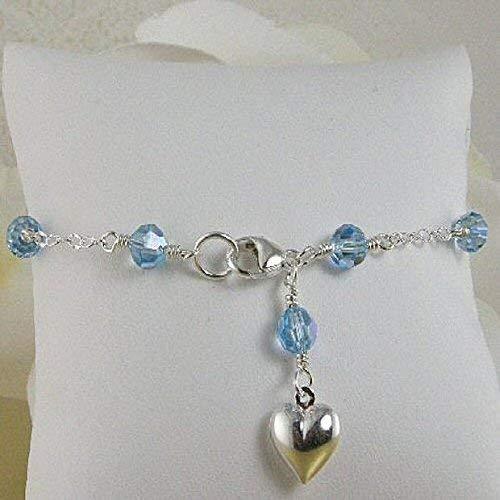 (Something Blue Bridal Anklet, Swarovski Crystal Wedding Ankle Bracelet)