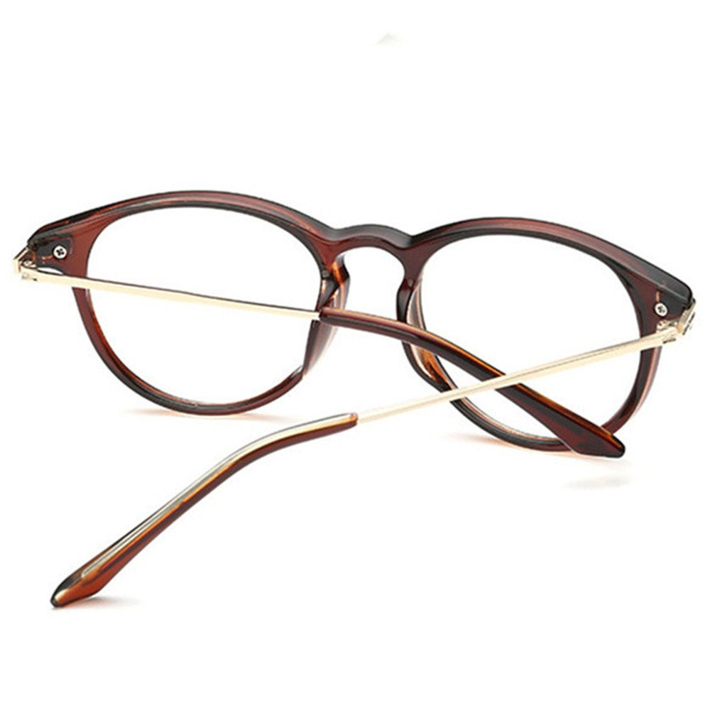 f8f9b8e69a03 Amazon.com  Fashion Design Mens and Womens Use Frame Longsighted Spectacles  +4.00 lenses Brown Reading Glasses Round Light Weight Anti Glare Premium ...