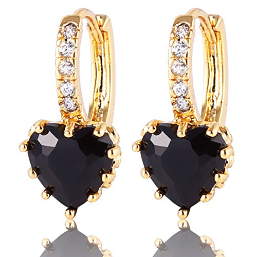 GULICX Fashion Gold Electroplated Heart Black Drop Hoop Earrings Stone Cubic Zirconia
