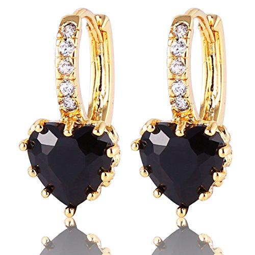 GULICX Fashion Gold Electroplated Heart Black Drop Hoop Earrings Stone Cubic Zirconia