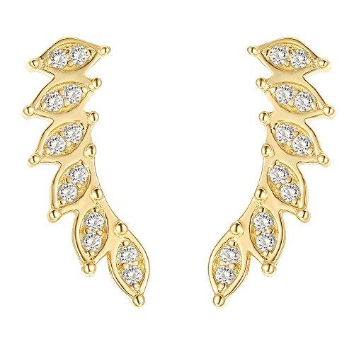 Earrings Yellow Cuff - PAVOI 14K Yellow Gold Crawler Earring Ear Cuff Stud Earrings
