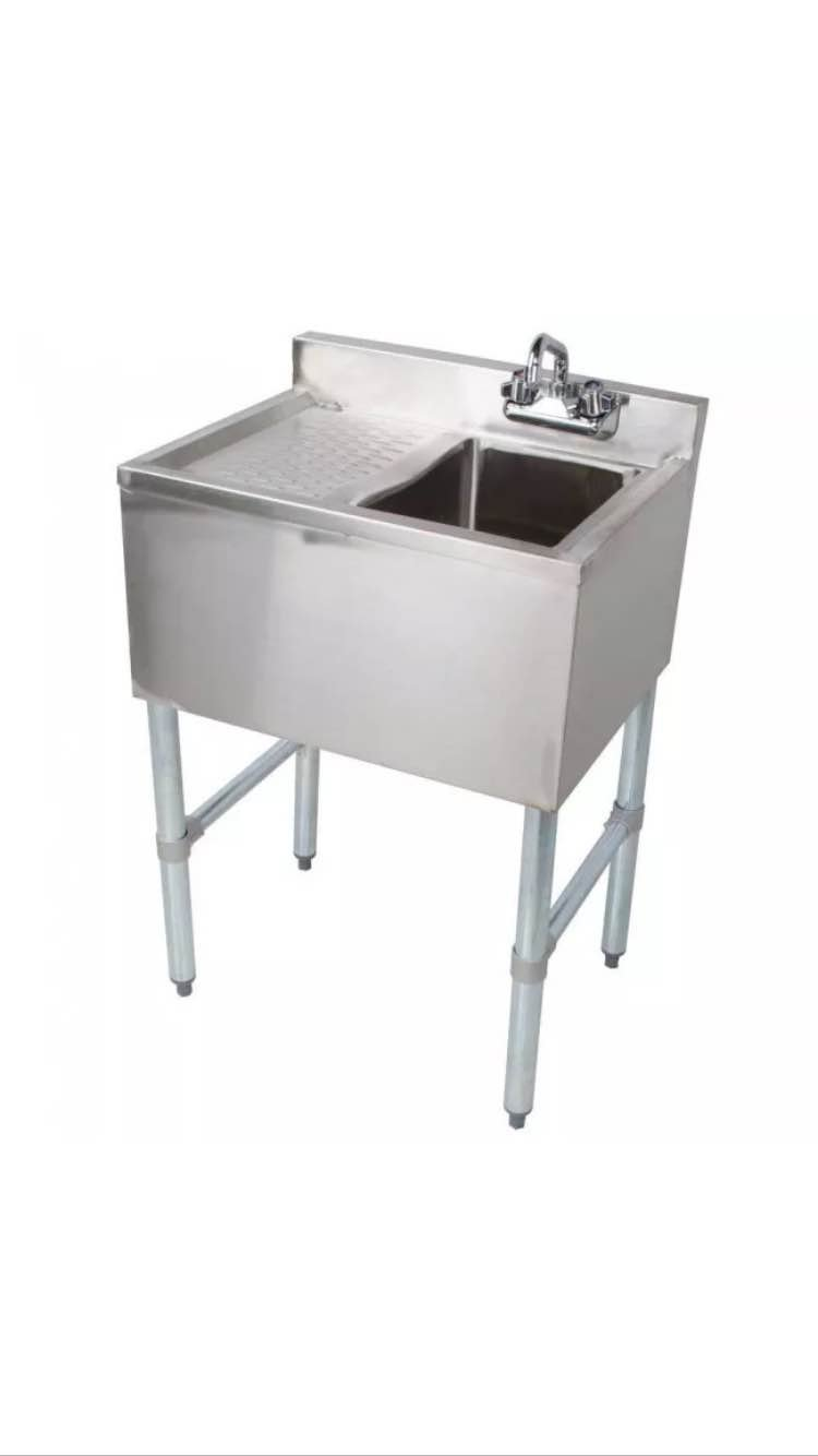 Stainless Steel Single One Compartment Bar Sink with Left Drainboard 19 x 24