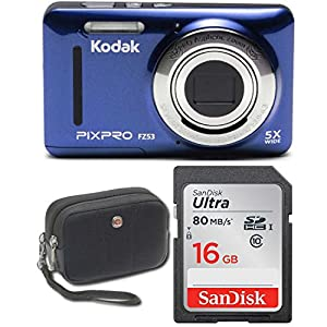 "Kodak FZ53 Point and Shoot Digital Camera with 2.7"" LCD, Blue + Sandisk Ultra 16GB & Wenger Camera Case Bundl"