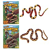 The Toy Network Fake Snake - Mega Stretch Snake 22' - Stretches Up to 5 Feet - Set of 2