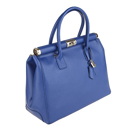 in Chicca Borse Made Italy Cm Handbag with in Shoulder Woman 35x28x16 Strap Leather Royal Genuine Blue pvq4AprWxn