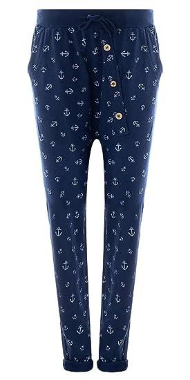 2bcf20d65c0f03 Damen Jogginghose Größe 36 38 bis 48 50 Sweatpants mit Stern Anker  Camouflage und Uni Farben  Amazon.de  Bekleidung