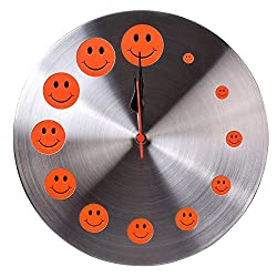 Kosma Stainless Steel Designer Quartz Wall Clock (Orange Smiley)