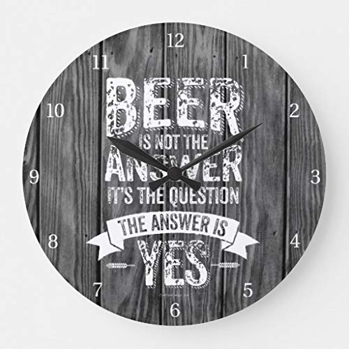 (Moonluna Beer is Not The Answer Wall Clocks Battery Operated Wooden Clock Decorations for Kitchen 10)