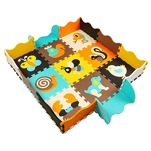 (MQIAOHAM 9 Foam Puzzle Play Mat with Borders Kids Multi-Color Safe Baby Playground Soft Padded Floor for Children Protection EVA Foam Interlocking Tiles Non-Toxic Animals P010B3010)