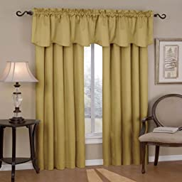Eclipse Canova 42-Inch by 21-Inch Thermaback Blackout Scallop Valance, Gold