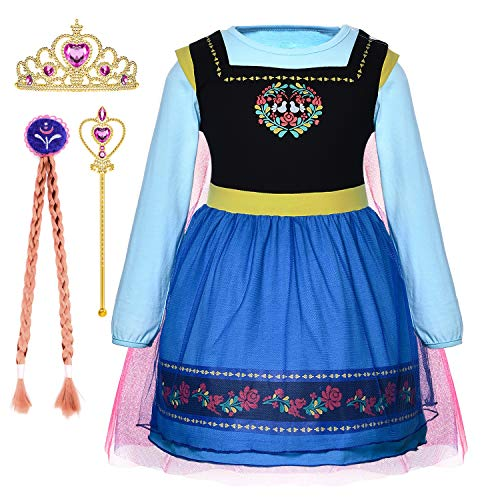 Princess Anna Costume Generic Dresses Little Girls Long Sleeve Dress Up Clothes for Toddler Girl de Cosplay Birthday Party with Accessories Size 2t 3t 3(XS) (2~3 Years)