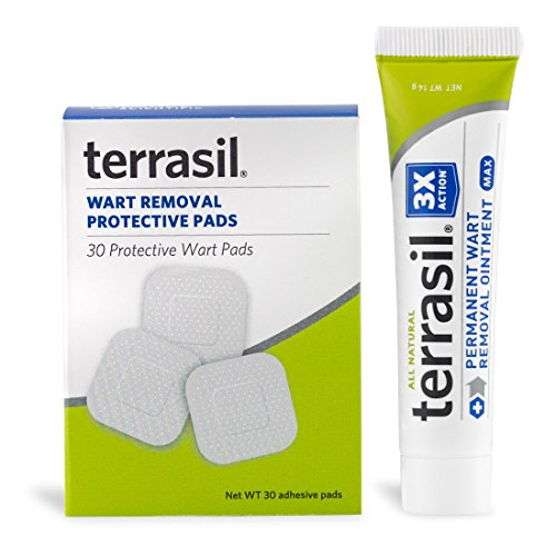 Permanent Wart Remover with Pads - Safe for Sensitive Skin Dr Recommended 100% Guaranteed All Natural Pain Free Salicylic Acid Free Patented Treatment for Plantar Genital Facial Warts by Terrasil (Remover Wart Genital Warts)