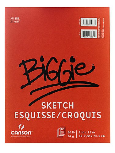 Canson Biggie Sketch Pads 9 in. x 12 in. pad of 100 [PACK OF 3 ]