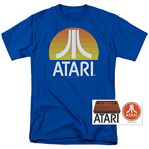 Atari Video Game Retro Logo Vintage Gaming Console T Shirt & Stickers (Large)