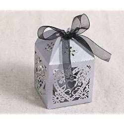 Haperlare 50pcs Love Heart Laser Cut Wedding Party Favor Box Candy Bag Chocolate Gift Boxes with Silver Ribbons for Wedding Birthday Baby Shower Decorations,Silver gray