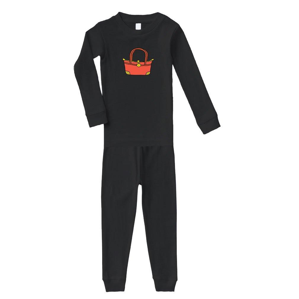 Cute Rascals Purse Little Red Brown Cotton Long Sleeve Crewneck Unisex Infant Sleepwear Pajama 2 Pcs Set Top and Pant - Black, 18 Months