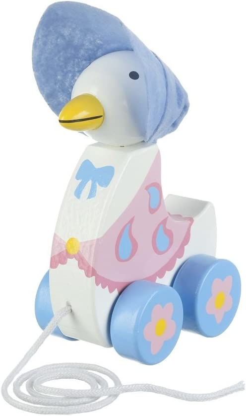 image of a duck toy pull-along in white and blue color with pink flower details on wheels
