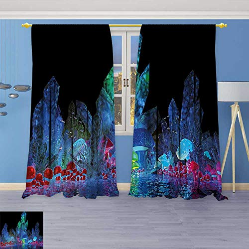Astoria Crystal Clear (Philiphome 2 Panels Room Darkening Blackout Curtains,Crystals Background Effects Mystic Nature Artistic with Neon Light Image Navy Black,Living Room Bedroom Window Drapes)