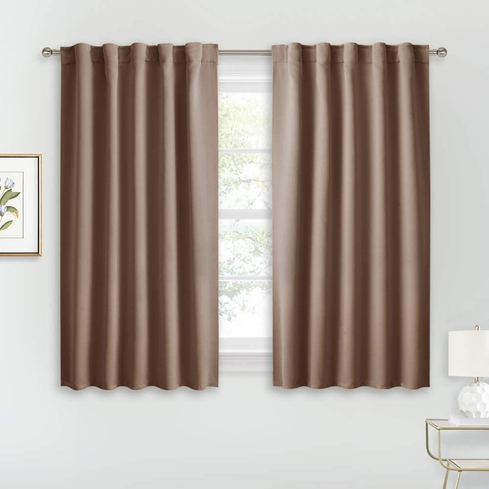 RYB HOME Farmhouse Curtains Blackout - Light Block Thermal Insulated Curtains for Kitchen Curtain Cafe Bar Bedroom with Back Tab Top Versatile Hanging, Width 42 x Length 45, Mocha, 2 Panels