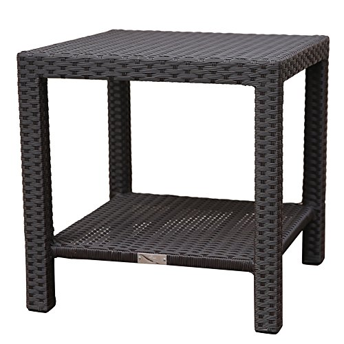 Abba Patio Wicker Outdoor Square End Table Side Table with Storage, 20''W x 20''D x 20''H, Dark Brown by Abba Patio