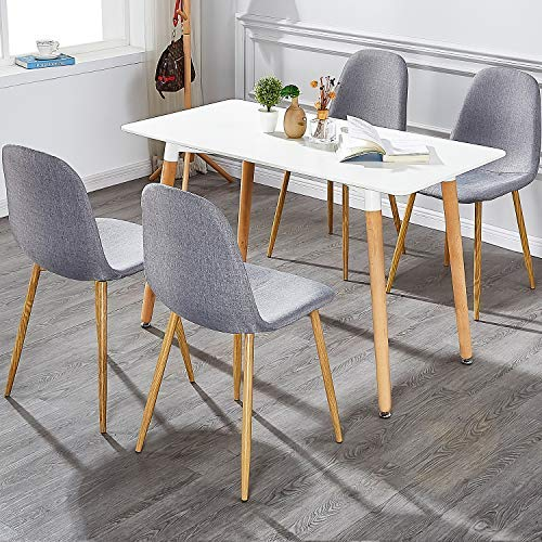 VECELO Dining Chairs for Kitchen/Dining/Living/Lounge Room, Fabric Cushion Seat Back Sturdy Metal Legs, Set of 4,Grey by VECELO (Image #7)