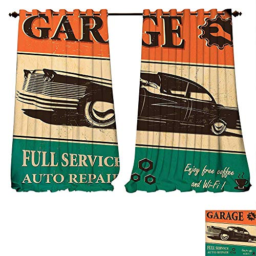 Thermal Insulating Blackout Curtain Vintage Garage Retro Poster with Classic Car Automobile Mechanic Nostalgic 50s Orange Beige Jade Green Patterned Drape For Glass Door (W107 x L107 -Inch 2 Panels) ()