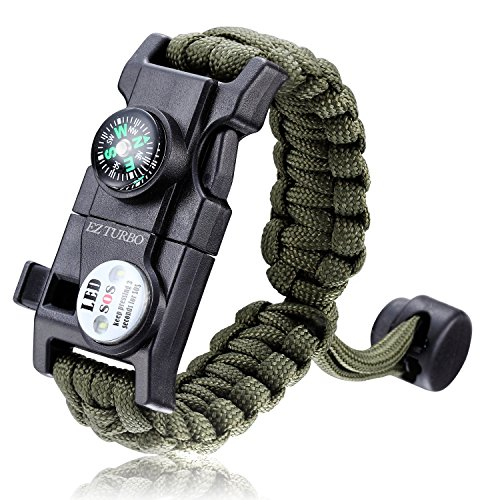 Survival Bracelet, EZ Turbo 20 in 1 Survival Paracord Bracelet, Survival Gear Kit with SOS LED Light, Emergency Knife, Whistle, Compass, Fire Starter for Camping, Climbing, Waterproof, Green