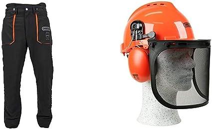 Oregon YukonPantalones de Protección Tipo A Clase 1 (20m/s), Pantalones Ligeros para Motosierra/Trabajo/Exterior, Negros, Talla XL + 562412 YukonCasco de Seguridad con Protector para Cara