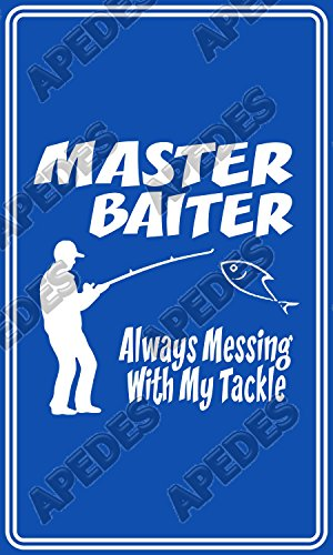 Master Baiter Blue Computer Tablet Decal Sticker 3x5 inches