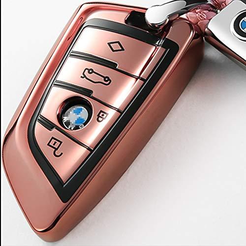 Intermerge for BMW Key Fob Cover,Blade Shape Soft TPU Key Case Shell Pouch  for BMW New BMW X1 X3 X5 X6,BMW Series 1 2 5 7 Keyless Entry BMW Key