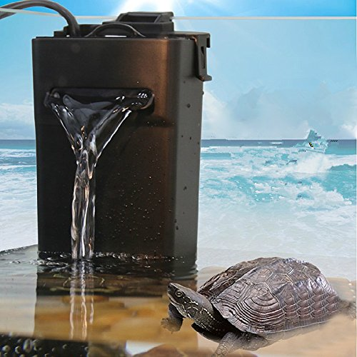 Aquarium Internal Filter with Triple filtration functions Suitable for Low Water Level with International Voltage Converter Transformer 110V to 220V Used for Amphibian Fish Turtle Tank