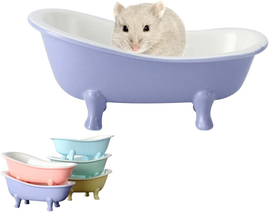 KnocKconK Small Animal Hamster Bed, Ice Bathtub Accessories Cage Toys, Ceramic Relax Habitat House, Sleep Pad Nest for Hamster, Food Bowl for Guinea Pigs/Squirrel/Chinchilla