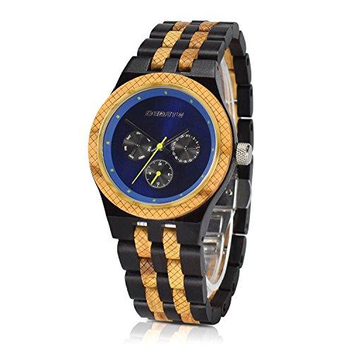 Bedate Functional Big Dial Bracelet Wood Watch Stylish Lightweight 3 Sub Dials Round Wristwatch for Men