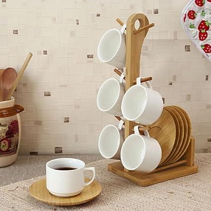 Buy Fabfurnish Kingselect Tea Cup With Bamboo Saucer And Stand Set