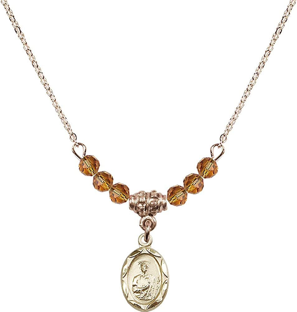 18-Inch Hamilton Gold Plated Necklace with 4mm Topaz Birthstone Beads and Gold Filled Saint Jude Charm.
