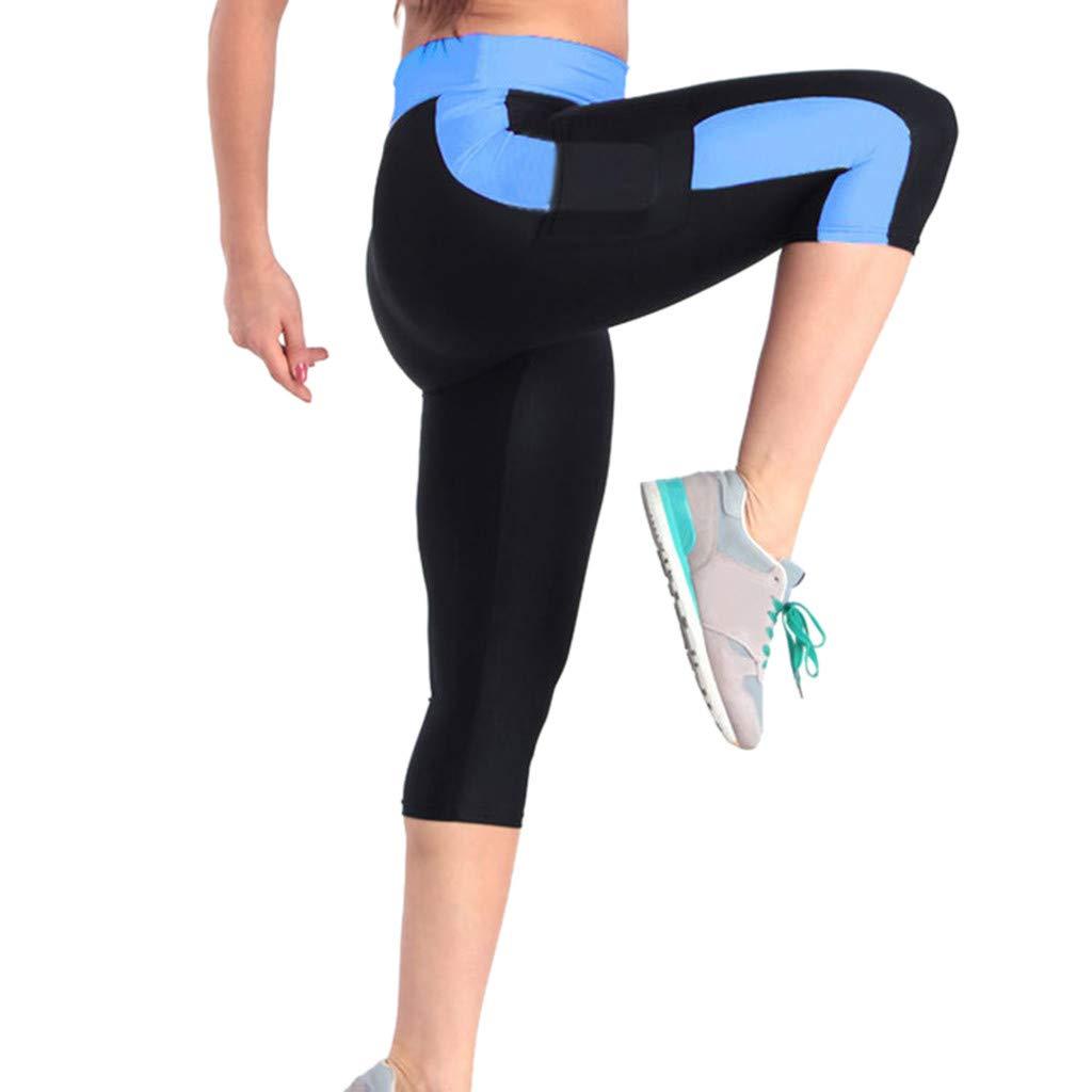 4Clovers Women's Yoga Pants High Waist Workout Capri Leggings Sports Running Active Tights w Side Pocket Blue