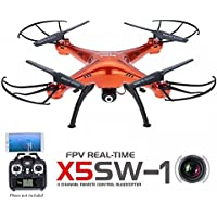 LEANINGTECH x Syma X5SW FPV Explorers2 2.4Ghz 4CH 6-Axis Gyro RC Headless Quadcopter Drone UFO with HD Wifi Camera Red