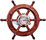 Sailor's Premium Home Decor Time's Clock Nautical Brass Porthole Ship's Wheel | Deluxe Office Decor | Wall Decor | Birthday Gift | Christmas Black Friday | Nagina International (24 Inches)