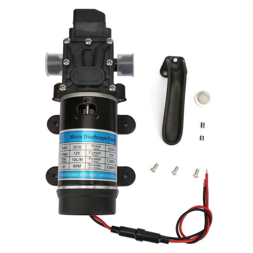 Bomba de agua, 12V/24V 120W Bomba de agua eléctrica 10L/m Bomba de diafragma autocebante para lavadora de alta presión(12V / 10A)