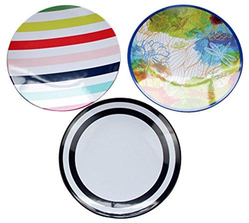 3-Piece Dinner Plate Set Reusable Hard Plastic Dessert Plate Rainbow Disk
