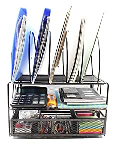 EasyPAG Mesh Desk File Organizer Tray with 5 Sorter Drawer , Black