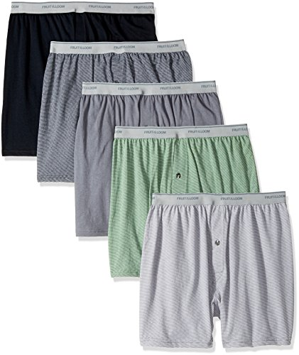 Fruit of the Loom Men's Exposed Waistband Knit Boxer (5 Pack), Assorted, Large (Fruit Of The Loom Trunk Boxer Briefs)