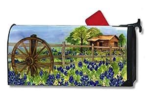 Theobaldjordan Bluebonnets Mailbox Cover Magnetic Mail Box Wrap Yard Garden Decor 17.25 X 20.75 Inches