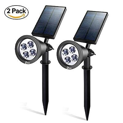 Dolucky Solar Spotlight with White Light, Adjustable Outdoor Landscape Lighting Wall Light, Led Night Lighting 2 Pack