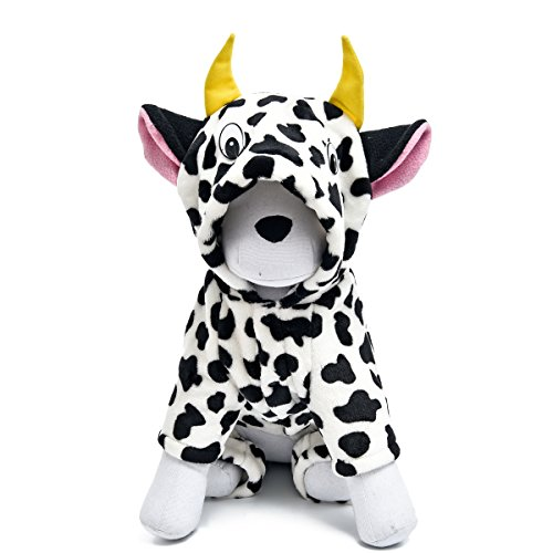 [PAWZ Road Adorable Milk Cows Pet Dog Clothes Comfy Marten Velvet Winter Pajamas Coat Jumpsuit XL] (Third Leg Costume)