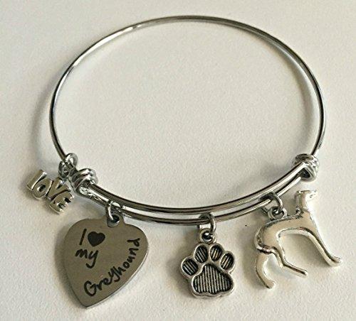 I Love My Greyhound Dog Breed Bracelet | Expandable Charm Bangle | Dog - Greyhound Charm Dog